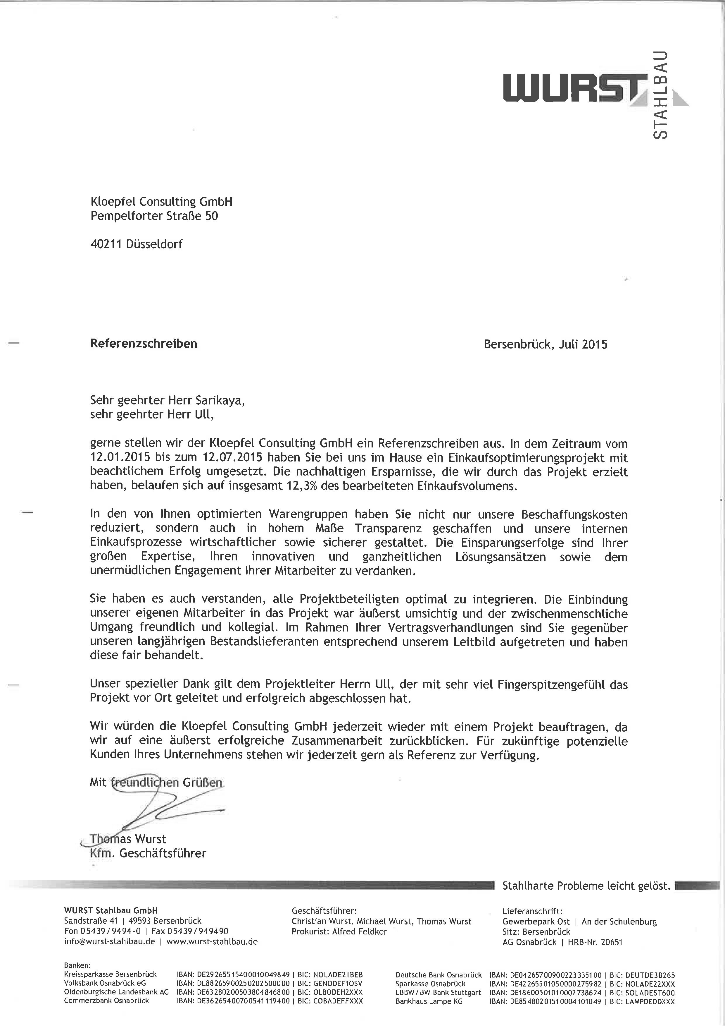 Wurst Stahlbau   Kloepfel Consulting GmbH on